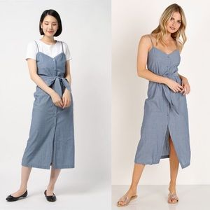 LACAUSA Blue Bell Chambray Button Front Dress S